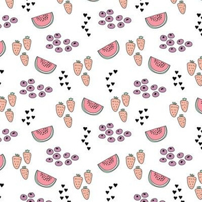 Colorful summer fruit strawberry watermelon berry hearts girls print
