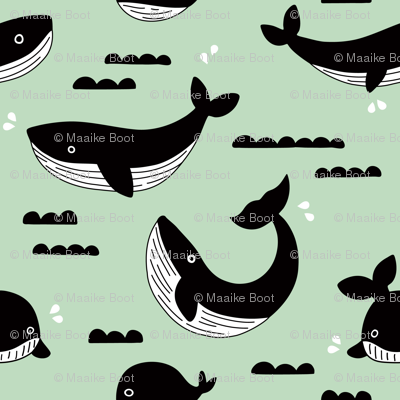 Black and white whale ocean theme illustration design under water world sea life mint XS