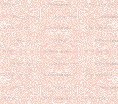 bridal mendhi - peachy-pink and white
