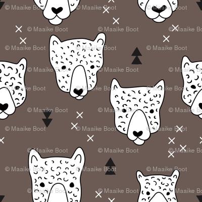 Geometric safari leopard cute woodland animals forest fall XS