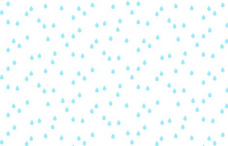 Clouds + Rain - Rain Drops Aqua on White fabric by cavutoodesigns on Spoonflower - custom fabric