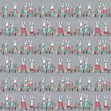 easter egg hunt // tiny bunnies cute baby nursery kids spring flowers fabric by andrea_lauren on Spoonflower - custom fabric