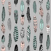 Feathers Grey Pink Mint Girly Spring Cute Girly Boho