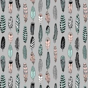 feathers // grey pink mint girly spring cute girly boho southwest