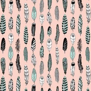 feathers // pastel pink boho southwest hippie girly mint and pink cute girly