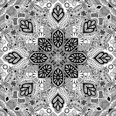 Gypsy Lace Monochrome Doodle fabric by micklyn on Spoonflower - custom fabric