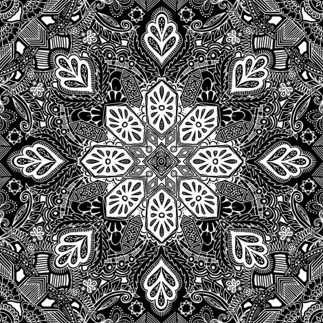 Gypsy Lace White on Black Doodle Pattern fabric by micklyn on Spoonflower - custom fabric