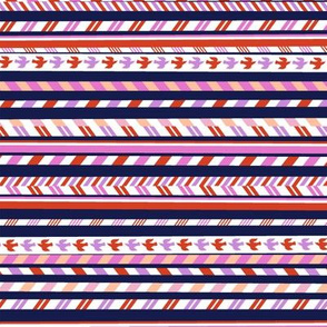 Airmail Stripes* (Jackie Blue & Pink Riot) || postal service mail post par avion bird ribbon geometric chevron