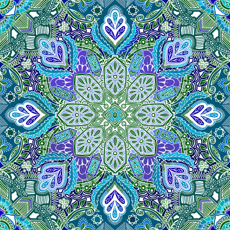 Peacock Summer Mandala Doodle Pattern fabric by micklyn on Spoonflower - custom fabric
