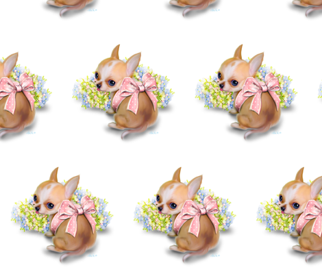 Chihuahua Baby white Large Pattern  fabric by catialee on Spoonflower - custom fabric