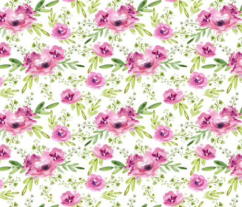 Pink flowers fabric by juliabadeeva on Spoonflower - custom fabric