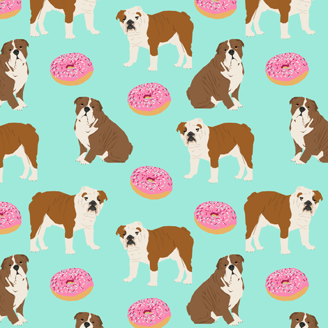english bulldog bulldogs mint donuts sweet food bulldogs english bulldogs pet dog pets dogs puppy  fabric by petfriendly on Spoonflower - custom fabric