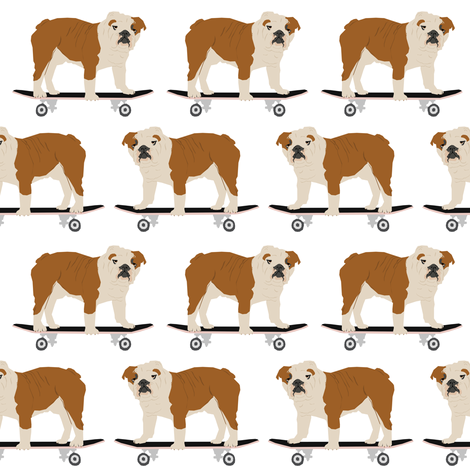 english bulldog skateboard kids funny white nursery boys baby kids dog pet dog dogs skateboards fabric by petfriendly on Spoonflower - custom fabric