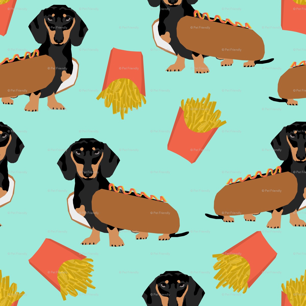dachshund hot dog and fries food funny dog costume cute dog wiener dog fabric - petfriendly - Spoonflower  sc 1 st  Spoonflower & dachshund hot dog and fries food funny dog costume cute dog wiener ...