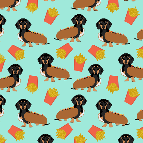 dachshund hot dog and fries food funny dog costume cute dog wiener dog  fabric by petfriendly on Spoonflower - custom fabric