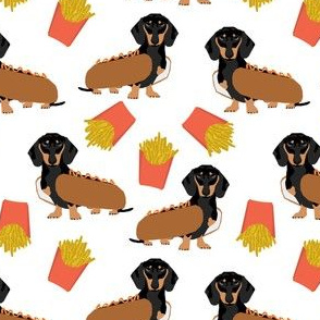 dachshund hot dog and fries cute funny food novelty dog dogs puppy doxie wiener dog weener dog fabric print for home decor