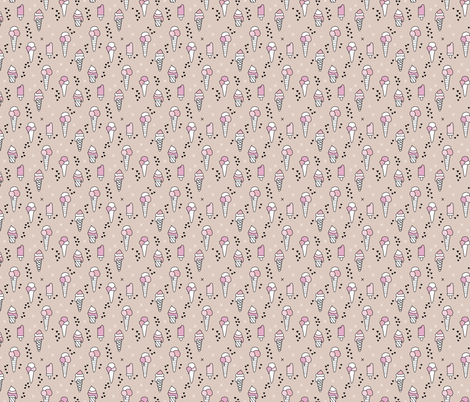 Cute ice cream popsicle cream candy dream kids illustration i love summer scandinavian style pastel blush pink XS fabric by littlesmilemakers on Spoonflower - custom fabric