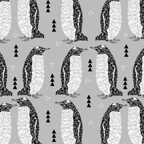 geometric penguin grey black white triangles