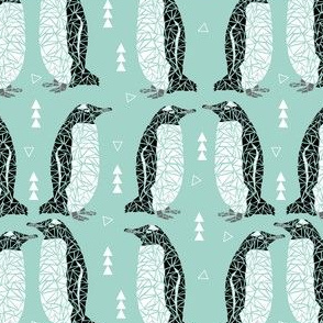 penguin geometric animal mint black white