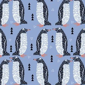 geometric penguin bird blue white black