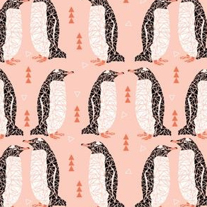 geometric penguin bird triangle pastel pink