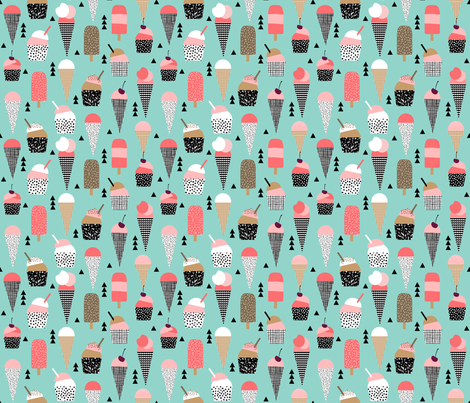 Ice cream cones summer pink and mint black and white kids for Black and white childrens fabric