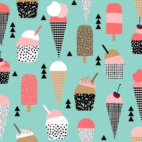 ice cream cones summer pink and mint black and white kids summer tropical print