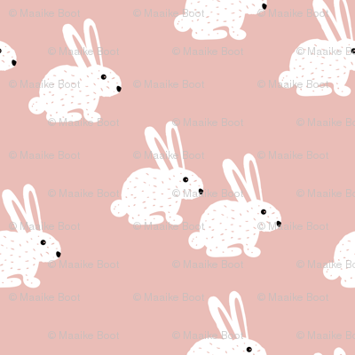 Sweet pastel bunny rabbit kids pastel scandinavian style illustration print pink