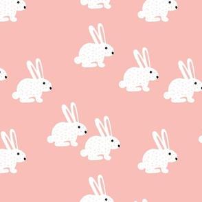 Sweet pastel bunny rabbit kids pastel scandinavian style illustration print pink