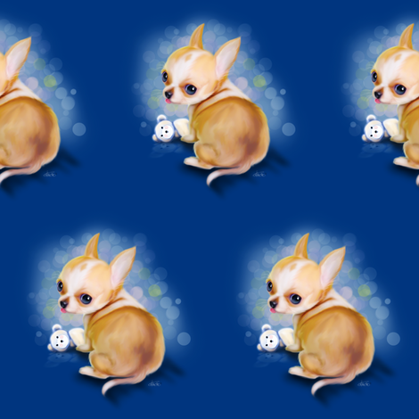 Chihuahua Blue Medium pattern fabric by catialee on Spoonflower - custom fabric