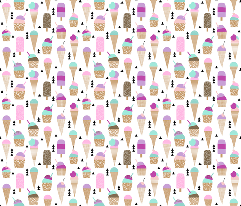 ice creams sweets ice-cream kids summer sweet purple pastel girly fabric by charlottewinter on Spoonflower - custom fabric