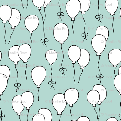 Balloon birthday celebration festive party scandinavian style kids design soft blue