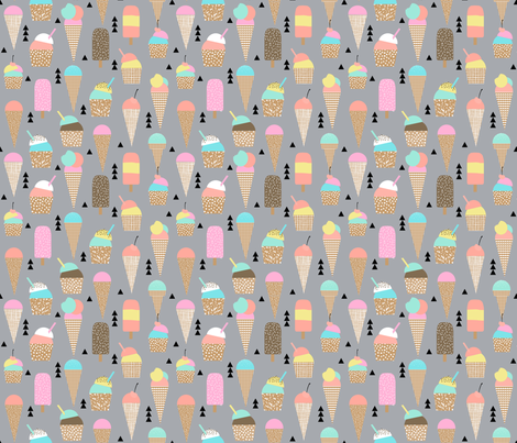 ice creams ice cream cone sweets summer tropical kids pastel  fabric by charlottewinter on Spoonflower - custom fabric