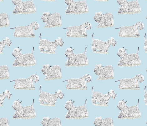 Frolicking Cesky Terrier - blue fabric by rusticcorgi on Spoonflower - custom fabric