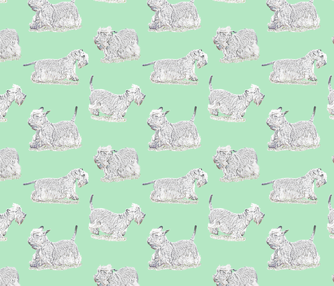 Frolicking Cesky Terrier - green fabric by rusticcorgi on Spoonflower - custom fabric