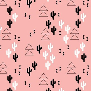 Geometric cactus scandinavian trend triangle design soft pink for girls