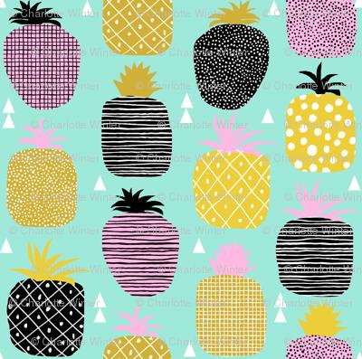 pineapple pink mint pastel tropical fruit summer geometric