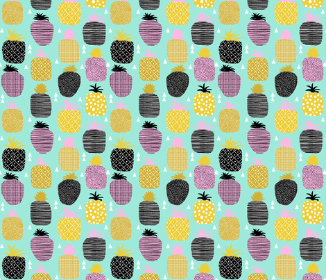 pineapple pink mint pastel tropical fruit summer geometric fabric by charlottewinter on Spoonflower - custom fabric