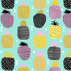 pineapple pink mint pastel tropical fruit summer geometric