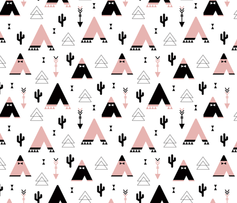 Teepee tent arrows and cactus garden cool kids geometric