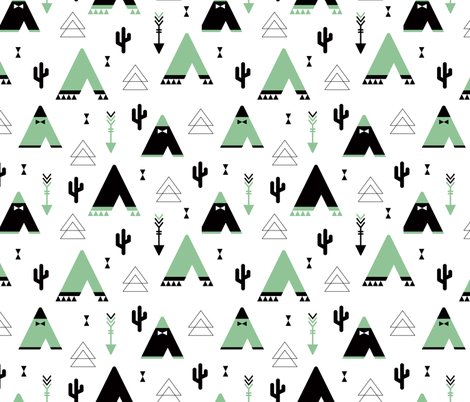 Teepee tent arrows and cactus garden cool kids geometric scandinavian style print gender neutral mint fabric by littlesmilemakers on Spoonflower - custom fabric