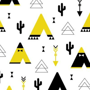 Teepee tent arrows and cactus garden cool kids geometric scandinavian style print gender neutral yellow