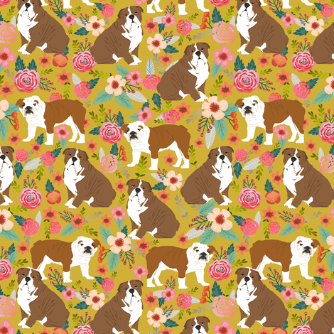english bulldog dogs pet dog pets dogs puppy flowers spring mustard flowers florals vintage watercolors fabric by petfriendly on Spoonflower - custom fabric