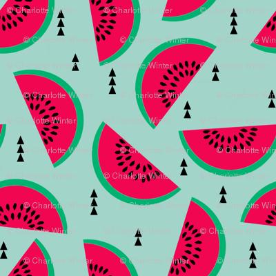 watermelons mint pastel fruit geometric triangles