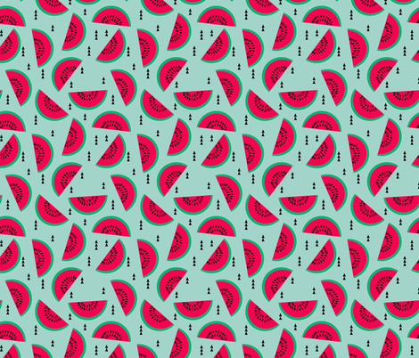 watermelons mint pastel fruit geometric triangles fabric by charlottewinter on Spoonflower - custom fabric