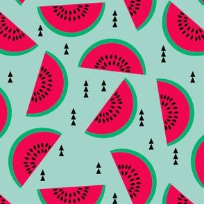 watermelons mint pastel fruit geometric triangles