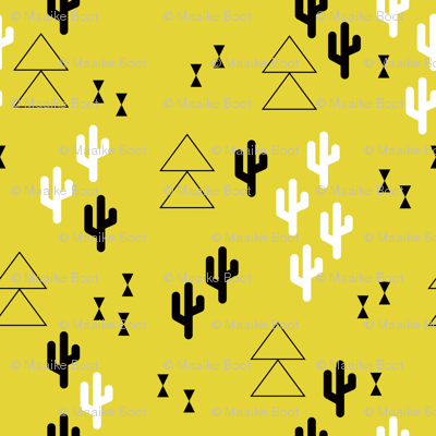 Geometric cactus scandinavian trend triangle design gender neutral yellow