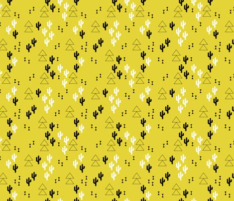 Geometric cactus scandinavian trend triangle design gender neutral yellow fabric by littlesmilemakers on Spoonflower - custom fabric