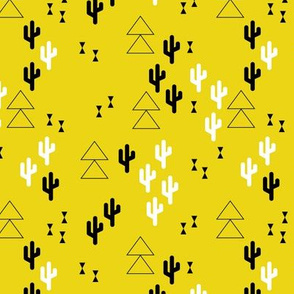 Geometric cactus scandinavian trend triangle design gender neutral yellow