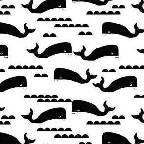 whale black and white ocean nautical whales cute kids scandinavian trendy cool design